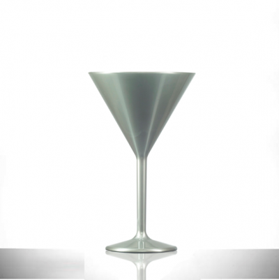Premium Silver 7oz Martini Glass, Polycarbonate Plastic – 12 Pack