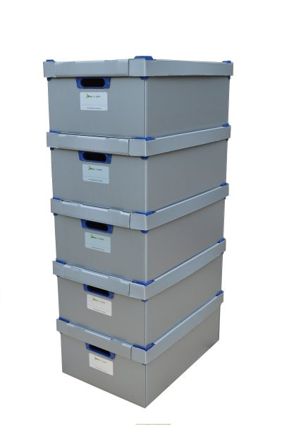 4. Medium Stacking Storage Boxes, Pack of 5, Height 195mm