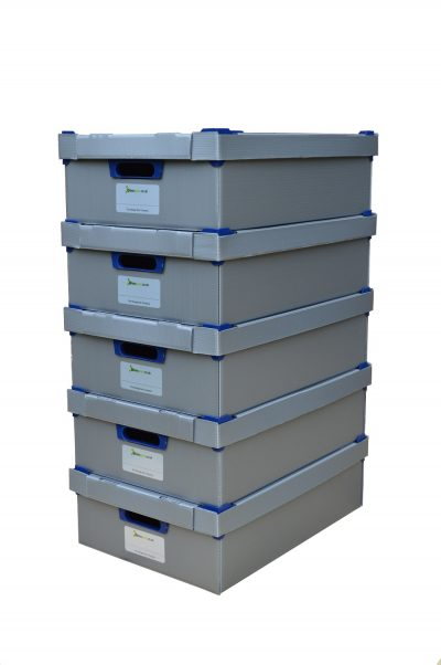 1. Stacking Storage Boxes | Pack of 5 | Small | Height 145mm