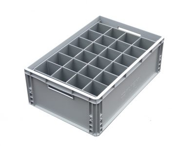 Wine Glass Crate = 24 cells | Glass max height = 250mm | Glass width range = 66mm to 81mm