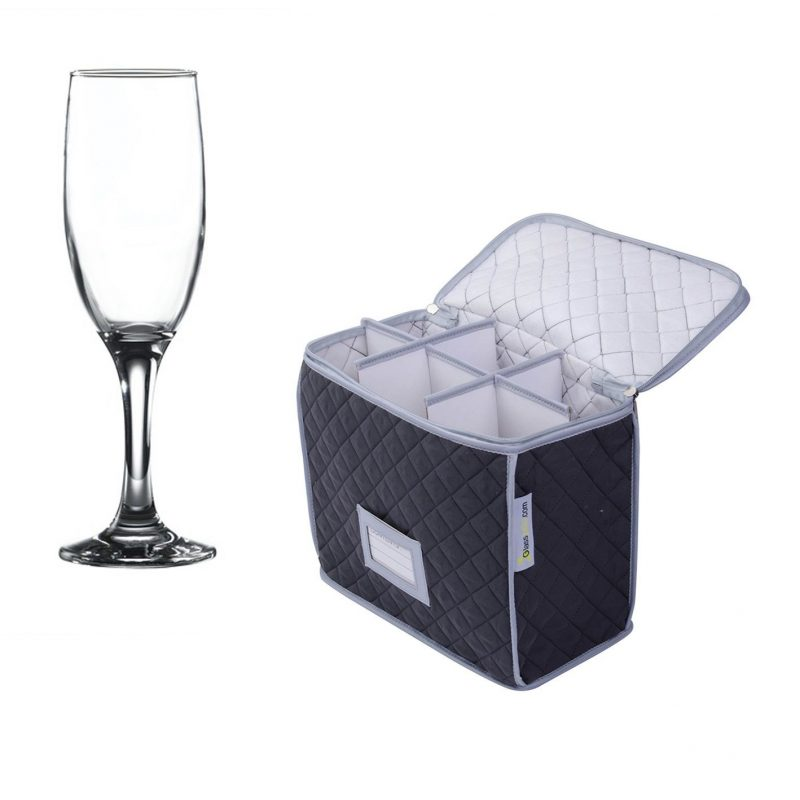 Glassware Quilted Storage Case and 6 Pack of Empire / Misket Champagne Flute 23cl / 6.5oz