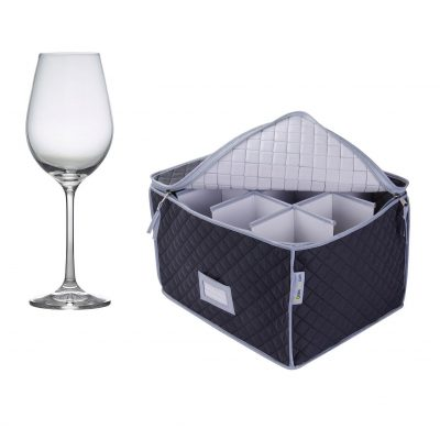 Quilted Wine Glass Storage Case and 12 Pack Gusto Premium Wine Glass, 35cl / 12.25oz