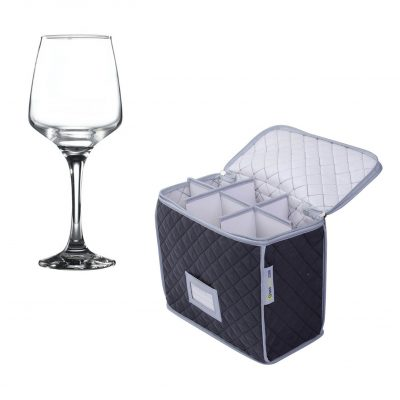 Glassware Quilted Storage Case and 6 Pack Lal Wine Glass 29.5cl / 10.25oz