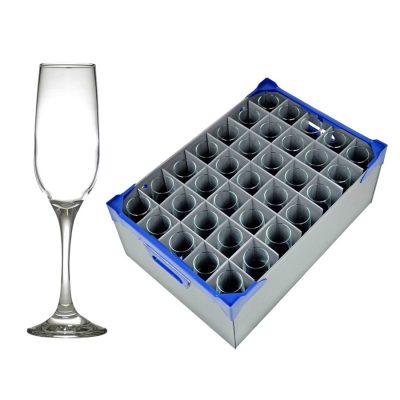 Champagne Glasses and Glassware Storage Crate - Fame Flute 21.5cl / 7.5oz - 35 Pack