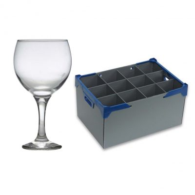 Gin and Tonic Cocktail Glass 64.5cl / 22.5oz, 12 Pack and Glassware Storage Box