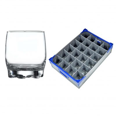 Whiskey Glasses 24 Pack Rocks Tumbler Adora 29cl / 10oz and Glassware Storage Crate