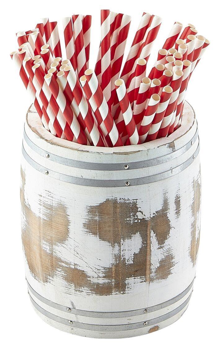 Miniature White Wash Wooden Barrel 11.5 Dia x 13.5cm