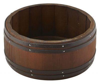 Miniature Dark Wooden Barrel 16.5 Dia x 8cm