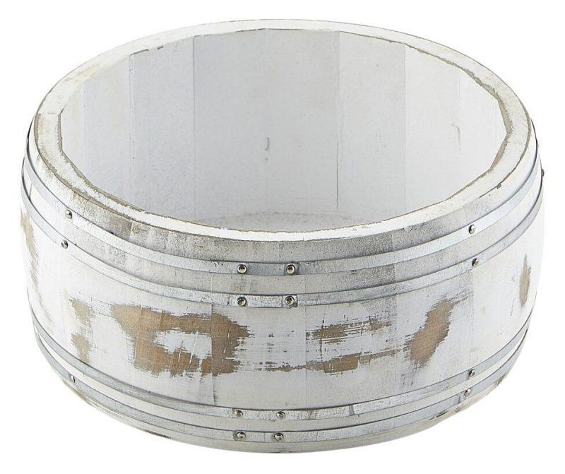 Miniature White Wash Wooden Barrel 16.5 Dia x 8cm