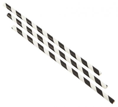 Paper Straws Black and White Stripes (500pcs)