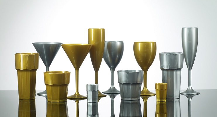 Plastic Glassware - Gold and Silver Glasses