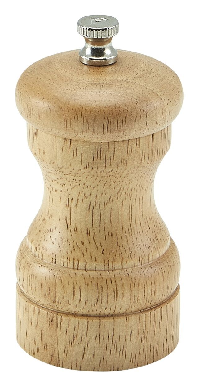 Genware Light Wood Salt Or Pepper Grinder 10cm