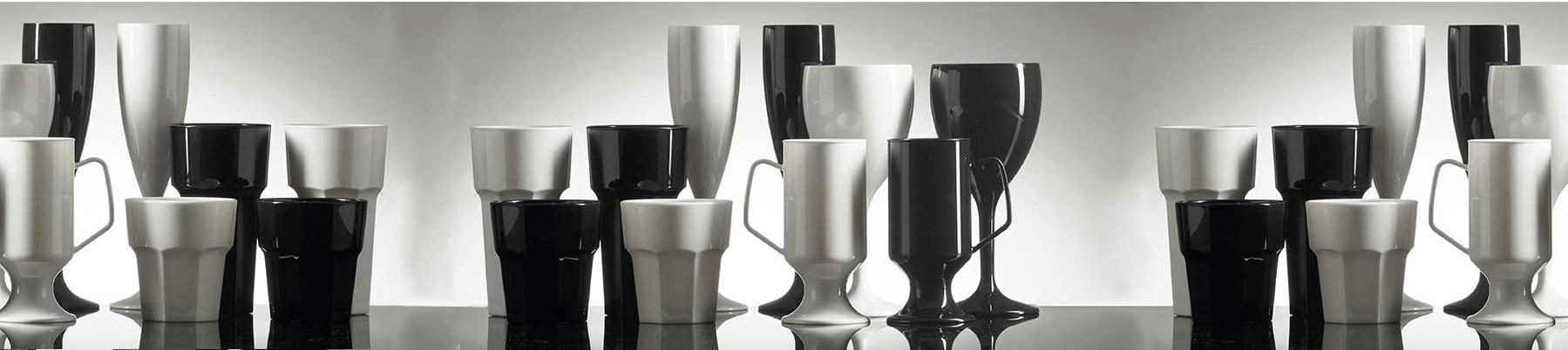 coloured-plastic-glassware-barware - black white