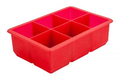 Beaumont 6 Cavity Silicone Ice Cube Mould 2″ Square (Red)