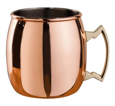 Beaumont Mezclar Copper Plated 500ml Curved Moscow Mule Mug Brass Handle