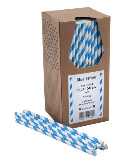 Blue & White Paper Straws Beaumont