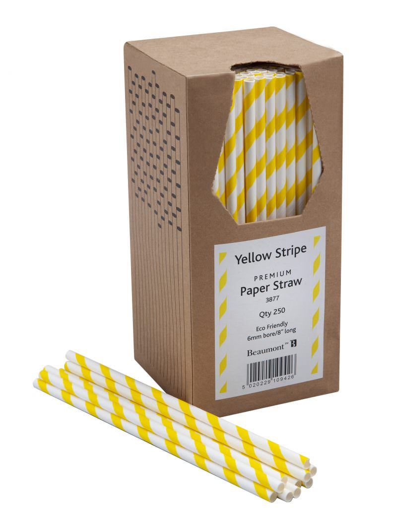 Yellow & White Paper Straws Beaumont