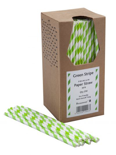 Green & White Paper Straws Beaumont