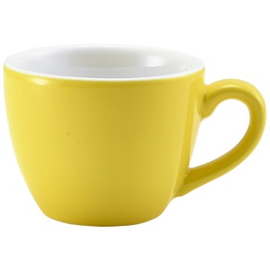 Genware Porcelain Yellow Bowl Shaped Cup 9cl/3oz