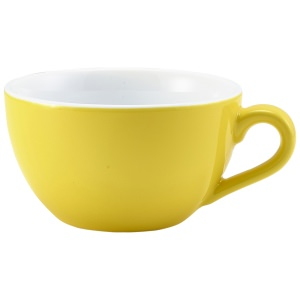 Genware Porcelain Yellow Bowl Shaped Cup 17.5cl/6oz