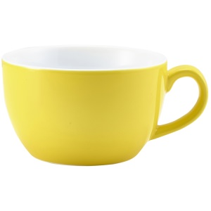 Genware Porcelain Yellow Bowl Shaped Cup 25cl/8.75oz