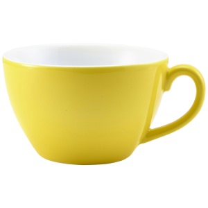 Genware Porcelain Yellow Bowl Shaped Cup 34cl/12oz