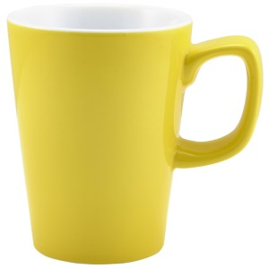 Genware Porcelain Yellow Latte Mug 34cl/12oz