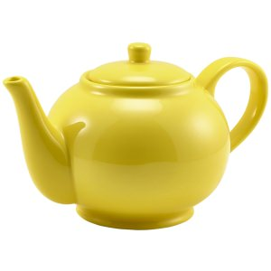 Genware Porcelain Yellow Teapot 85cl/30oz