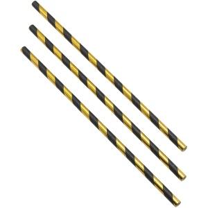 Paper Straws Black and Gold Stripes 20cm (500pcs)