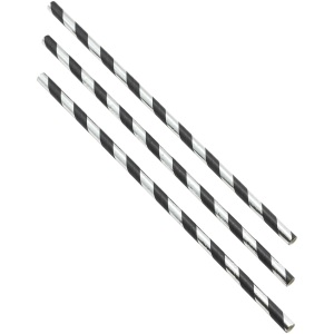Paper Straws Black and Silver Stripes 20cm (500pcs)