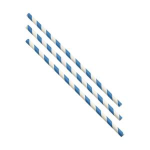 Paper Straws Blue and White Stripes 20cm (500pcs)
