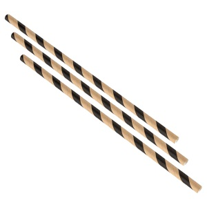 Paper Straws Brown and Black Stripes 20cm (500pcs)