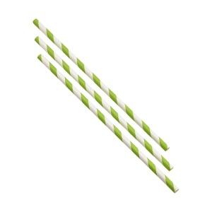 Paper Straws Green and White Stripes 20cm (500pcs)