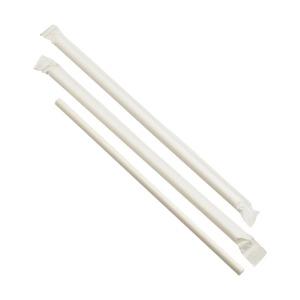Paper Straws Wrapped White 20cm (500pcs)