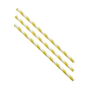 Paper Straws Yellow and White Stripes 20cm (500pcs)