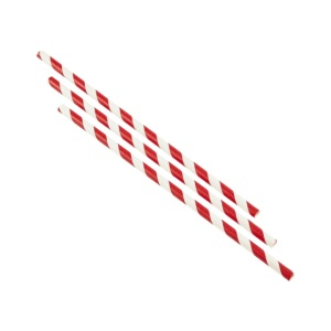 Paper Straws Red and White Stripes 23cm (250pcs)