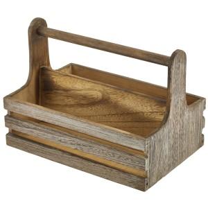 Medium Rustic Wooden Table Caddy