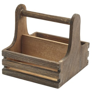 Small Rustic Wooden Table Caddy