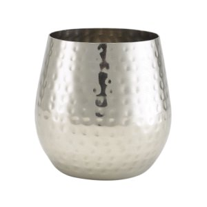 Hammered Stainless Steel Stemless Wine Glass 55cl/19.25oz