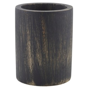 GenWare Black Wash Acacia Wood Cutlery Cylinder