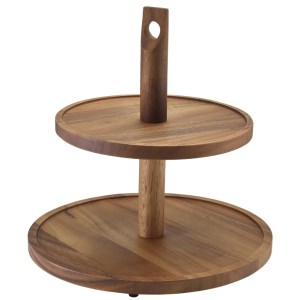 GenWare Acacia Wood Two Tier Cake Stand