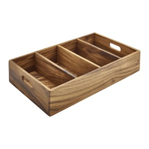 Acacia Wood 4 Compartment Cutlery Tray
