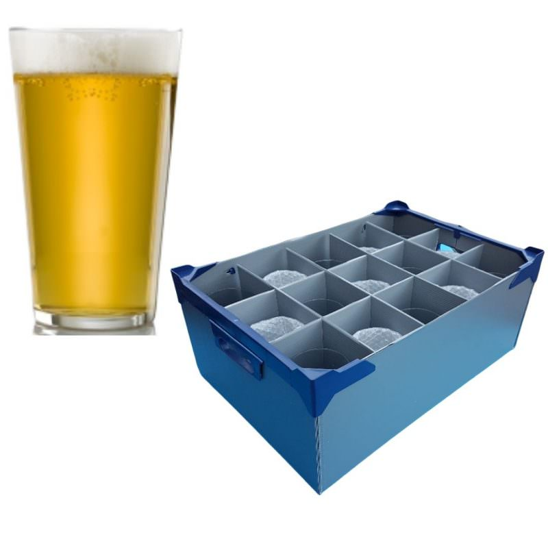 Vicrila Fully Tempered Conil Beer Glasses - 15 Pack & Beer Glass Storage Box 57cl / 20oz