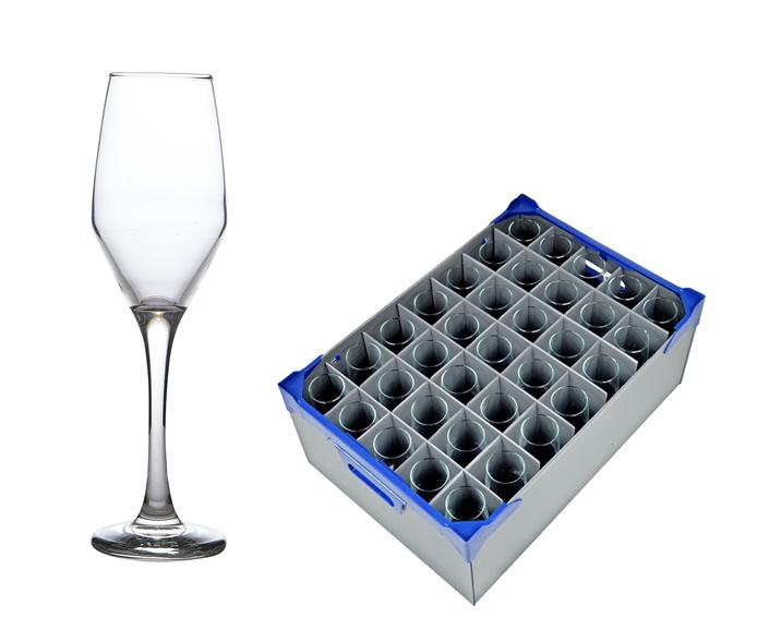 Ella Champagne Flute 23cl/8.1oz - 35 Pack and 1 x Glassware Storage Box