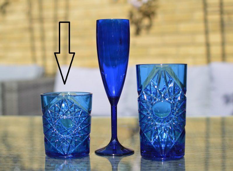 Blue Plastic Cocktail Tumbler 47 cl / 15.9oz - Reusable - 6 Pack